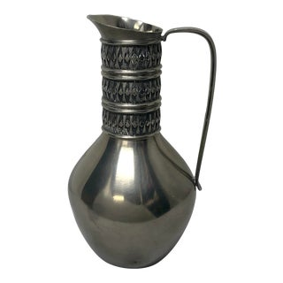 Vintage Mid Century Nordic Pewter Pitcher For Sale