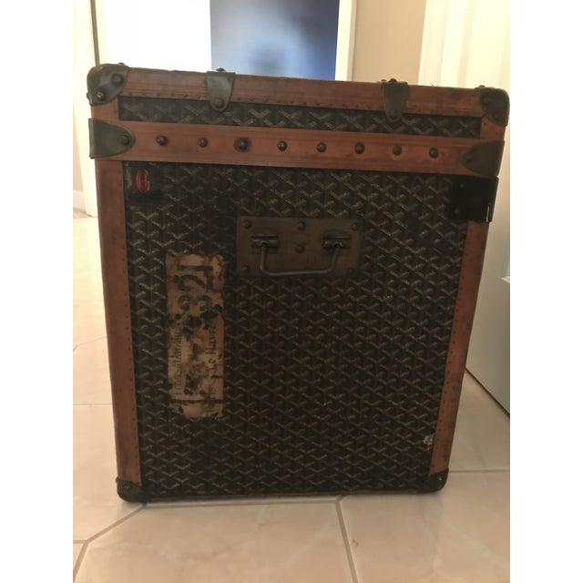 Coffee 1925 Antique Goyard Steamer Luggage Trunk For Sale - Image 8 of 13