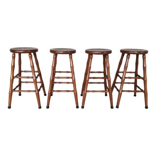 Handmade Solid Cherry Counter Stools - Set of 4