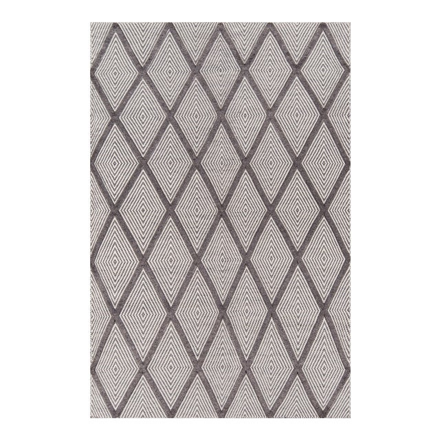 "Erin Gates by Momeni Langdon Spring Charcoal Hand Woven Wool Area Rug - 45"" X 69"" For Sale"