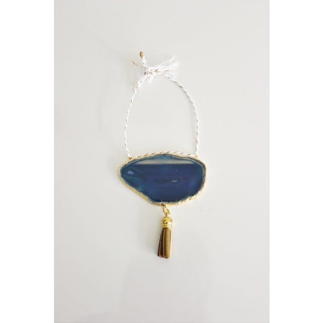 Modern Boho Blue/Cobalt Agate Holiday Ornament - Image 2 of 6