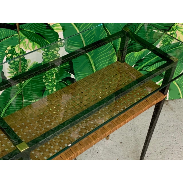 Black Steel and Rattan Console Table For Sale - Image 8 of 11
