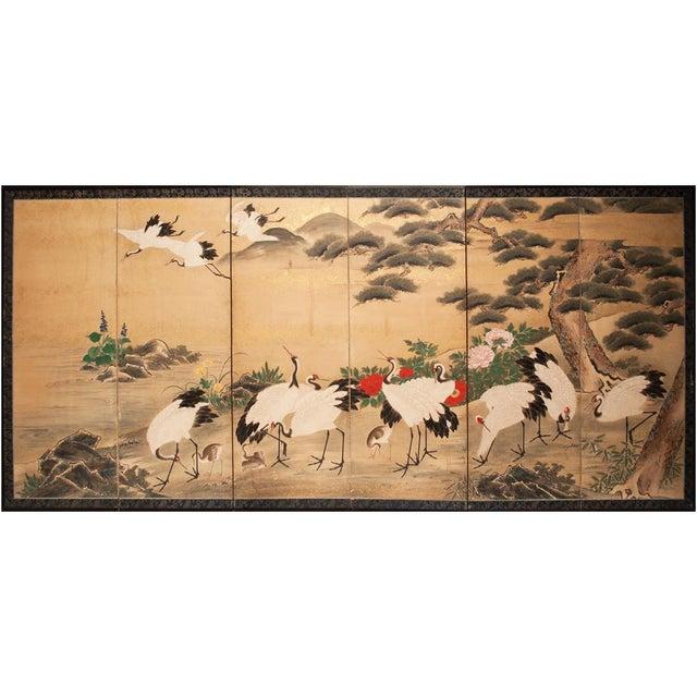 Edo Era Monumental Japanese Six-Panel Byobu Screen For Sale - Image 12 of 13