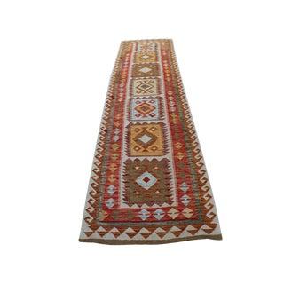 Handmade Vegetable Dyed Afghani Kilim Rug - 2′7″ × 9′6″ For Sale