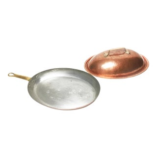 Large Vintage French Mid-Century Hammered Copper Skillet / Pan and Matching Lid