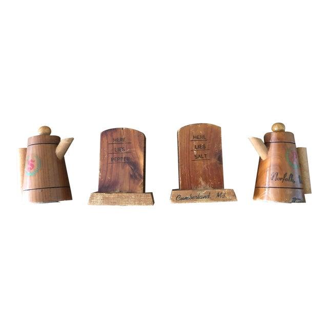 Vintage Wooden Novelty Souvenir Salt and Pepper Shakers - Set of 4 For Sale