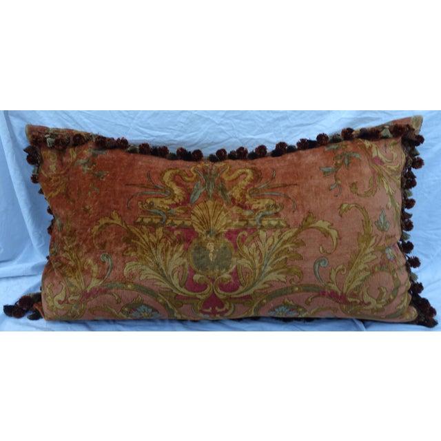 Custom Mohair & Silk Damask Pillow w/ Tassel Fringe by Melissa Levinson For Sale - Image 5 of 10