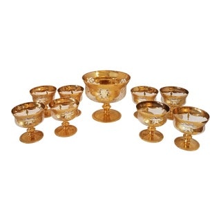 1950s Mid-Century Modern Lav. A Mano Bohemian Italian Art Glass Compote Set of 9 For Sale