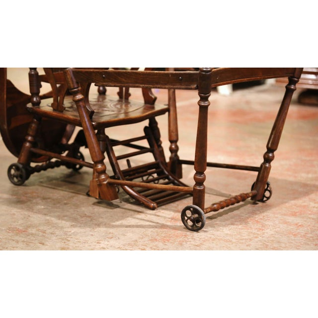 Mid-20th Century French Carved Folding Up and Down Child High Chair on Wheels For Sale - Image 11 of 13