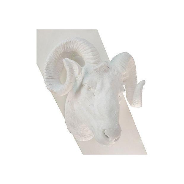 Mid-Century Plaster Rams Head Wall Sculpture - Image 3 of 4