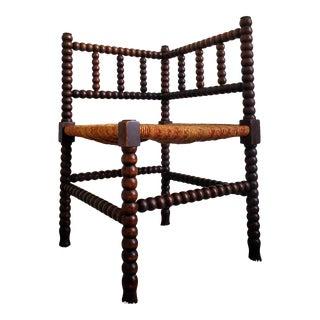 19th Century Liberty & Co. Bobbin Turned Rush Corner Chair For Sale