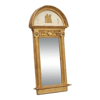 Early 19th Century Swedish Empire White & Gold Goddess Trumeau Mirror For Sale