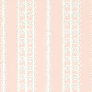 Sample - Schumacher Wicker Stripe Wallpaper in Frangipani For Sale