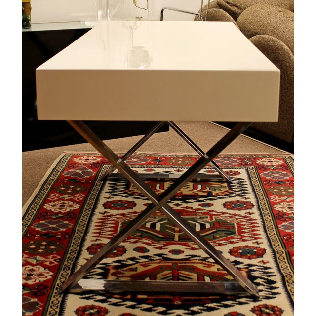 Campaign Mid-Century Modern Milo Baughman White Lacquer Chrome X Base Campaign Desk 1960s For Sale - Image 3 of 11