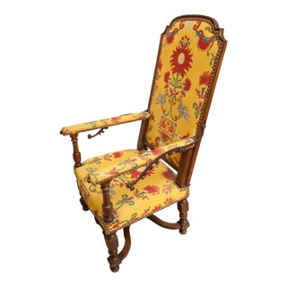 18th Century Louis XV Walnut Fauteuil Malade Reclining Armchair For Sale