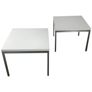 1950s Vintage Florence Knoll for Knoll Stainless Steel and Laminate Side Tables - A Pair For Sale