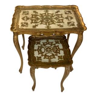 1950s Italian Florentine Nesting Tables - Set of 2 For Sale