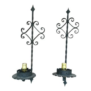 Rustic Black Wrought Iron Sconces - a Pair For Sale