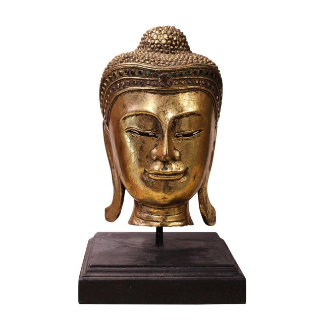 Handcrafted Gold Wood Serene Peaceful Buddha Head On Stand For Sale