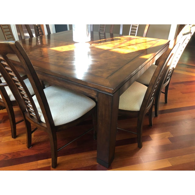 Burlwood Square Table With Spindle Back Chairs Dining Set For Sale - Image 7 of 8