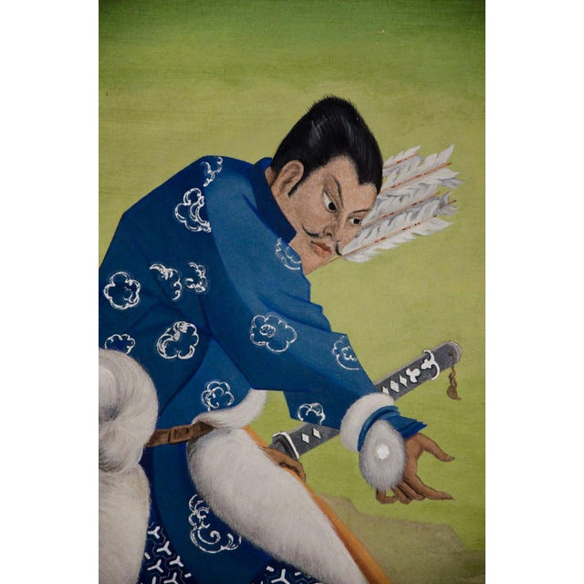 Asian L. Valdemar Fischer Samurai Oil on Canvas Painting For Sale - Image 3 of 13