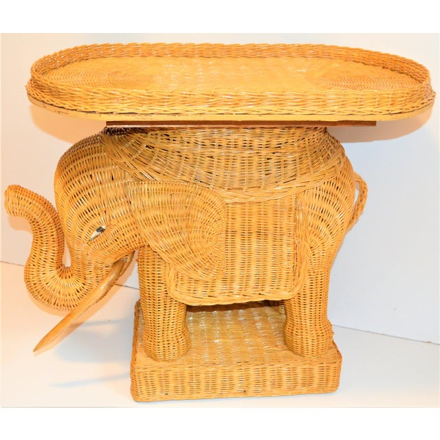 Boho Chic Wicker Rattan Elephant Tray Table (Final Markdown Taken) For Sale - Image 10 of 13