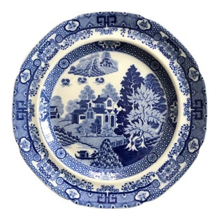 Early 19th Century Spode Blue and White Chinoiserie Earthenware Dinner Plate - Forest Landscape For Sale