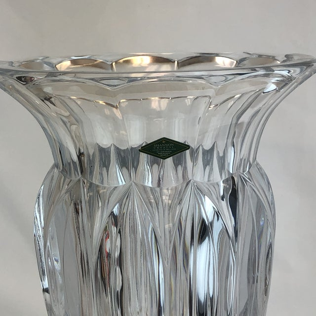 Metal Shannon Crystal Fluted Vase For Sale - Image 7 of 10