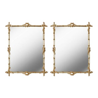 Pair of Silvered Faux Bamboo Mirrors