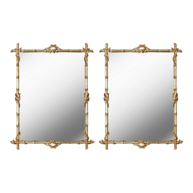 Pair of Silvered Faux Bamboo Mirrors - Image 1 of 4