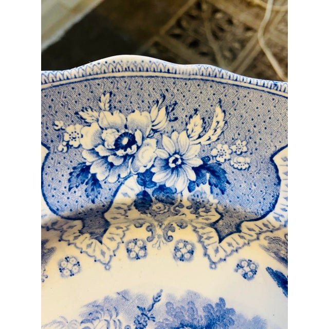 Ceramic Antique Early 19th Century Staffordshire Blue and White Transferware Dinner Plates -Set of 6 For Sale - Image 7 of 9