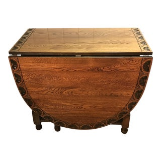 Vintage Carved Top Drop Leaf Table For Sale