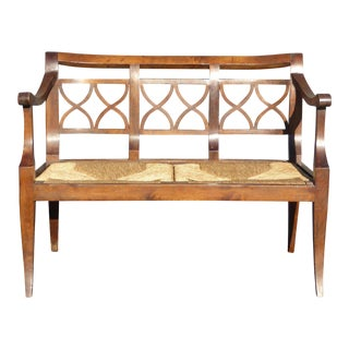 Vintage French Country Style Wood & Rush Seat Settee Bench - Made in Italy For Sale
