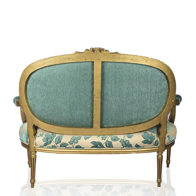 Chenille Upholstered Louis XVI Settee - Image 4 of 4