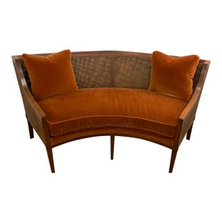 1970s Vintage Century Furniture Curved Settee in Mohair For Sale