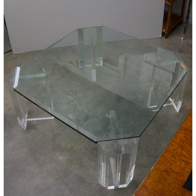 1970s Lucite and Glass Square Cocktail Table by Charles Hollis Jones For Sale - Image 5 of 7