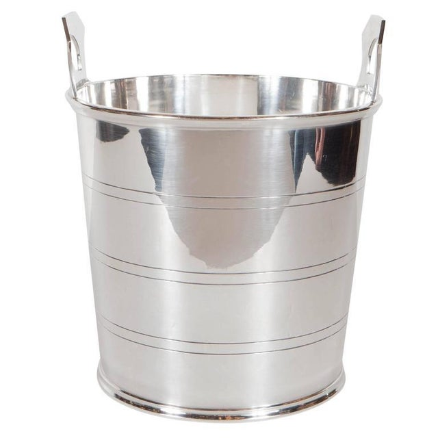 Silver English Art Deco Silver-Plate Ice Bucket with Handles For Sale - Image 8 of 8