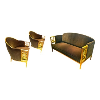 Paul Follot Exceptional Three-Piece Set in Gold Leaf Carved Wood For Sale