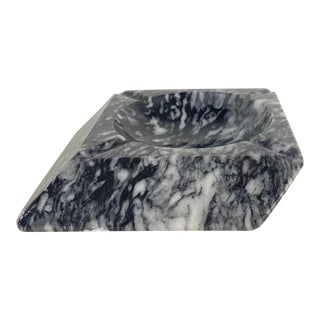 Vintage Slanted Marble Stone Ashtray Catchall For Sale