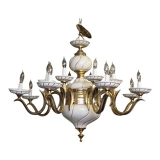 1960s Italian White Porcelain & Brass Chandelier