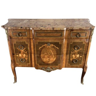 Antique 19th Century French Louis XV Marble Top Commode For Sale