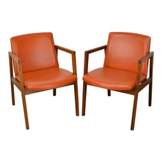 Adrian Pearsall Style Mid Century Walnut Arm Chairs - A Pair