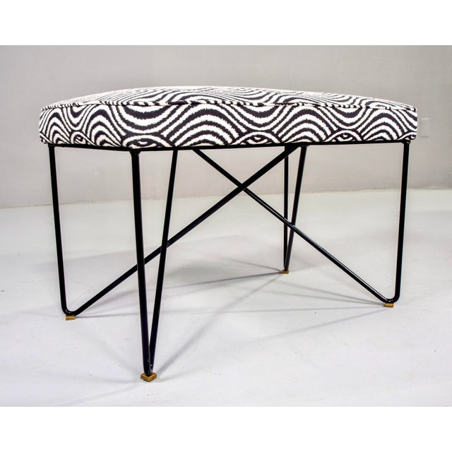 Black Italian Mid Century Style Bench With Black Iron Hairpin Legs For Sale - Image 8 of 11