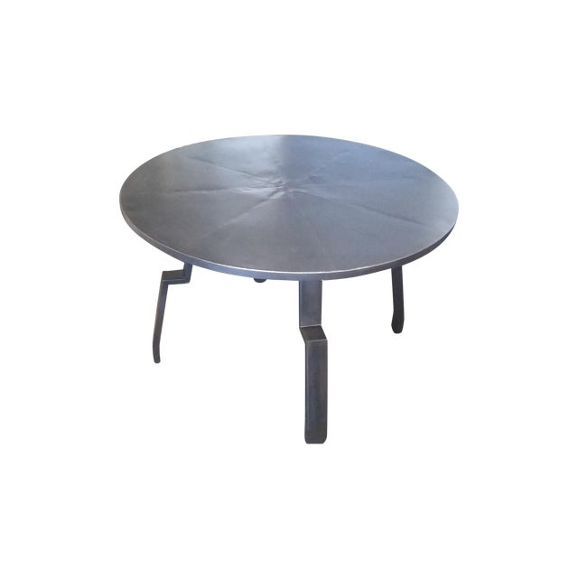 Black Round Steel Distortion Dining Table - Image 1 of 5