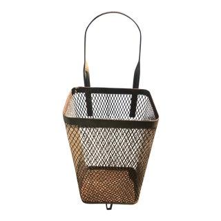 Vintage Rustic Metal Mesh Rolling Basket For Sale