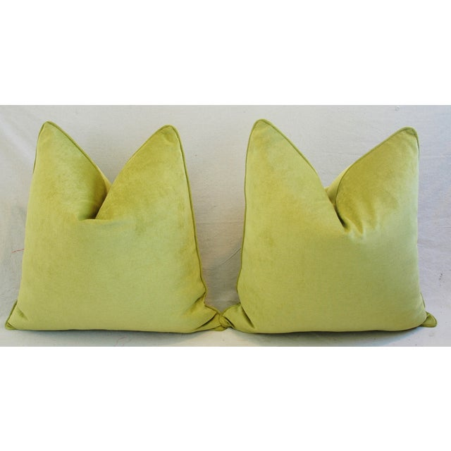 "Feather Ultra Soft Apple Green Velvet Feather/Down Pillows 24"" Square - Pair For Sale - Image 7 of 10"