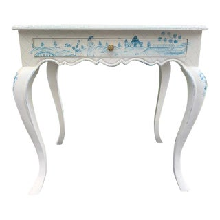 Vintage Hand Painted Blue and White Chinoiserie Desk For Sale