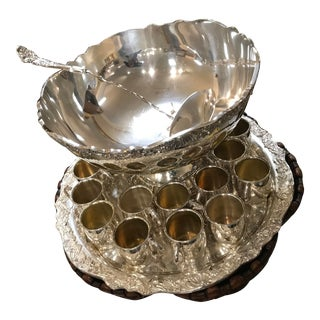 Vintage Towel Silverplate Punch Bowl With 16 Cups Ladle & Tray Set/Reduced Final For Sale