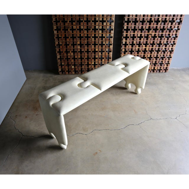 Scala Puzzle console table. Matte finished tufted goatskin ( parchment ). Executed in the early 21st century.