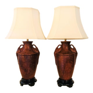 Ceramic Urn Lamps With Swan Handle Details on Wood Plinths With Shades - a Pair For Sale
